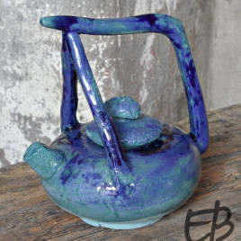 Teiera blu + 2 tazzine